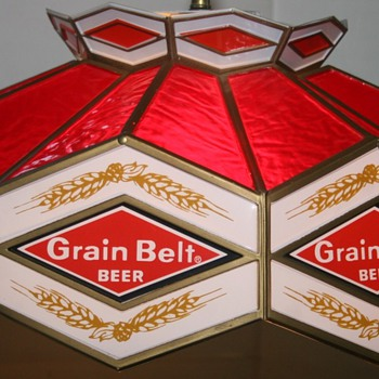 1976 Grain Belt Beer Tiffany Pool Table Light - Lamps