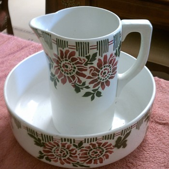 Antique Bowl and Pitcher  Belgium - China and Dinnerware
