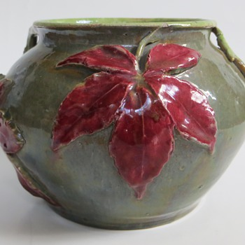 Anton Lang Pottery Vase with applied leaves~He was Jesus at 3 Oberammagau Passion Plays  - Pottery