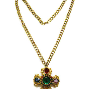 Vintage Colourful Jeweled Ornate Cross Pendant Necklace - Costume Jewelry
