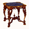 Magnioficent Art Deco Italian Carved Wood & Marble Table, circa 1925