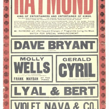 """The Great Raymond"" Original 1919 Hippodrome Broadside"