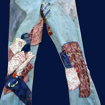 """Draft Dodger Blues"" 1960's Hippie Patched Denim Jeans"