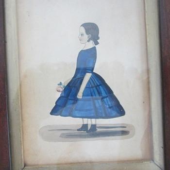 1850 folk art watercolor J. Kirk - Visual Art