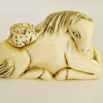Antique Japanese Ivory Horse Frog Netsuke  - Asian