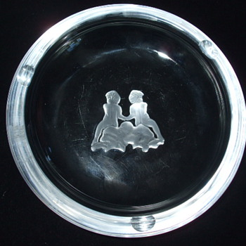 "Val St. Lambert Crystal Cut & Etched -Intaglio-""Nudes On A Rock"" ASHTRAY - Art Glass"