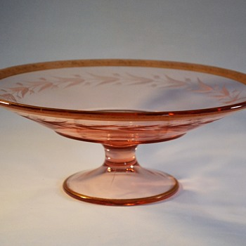 Pink Etched Elegant Glass Footed Bowl with Gold Trim - Glassware