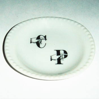 Small Ceramic Dish with unusual logo - Advertising