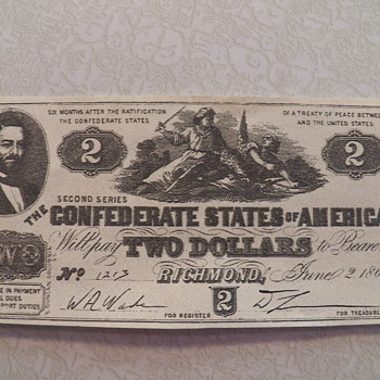 1862 Confererate Money - US Paper Money