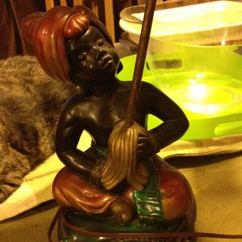 Vintage Genie Black Face Table Lamps