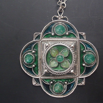 Arts & Crafts Enamel & Chrysoprase Pendant