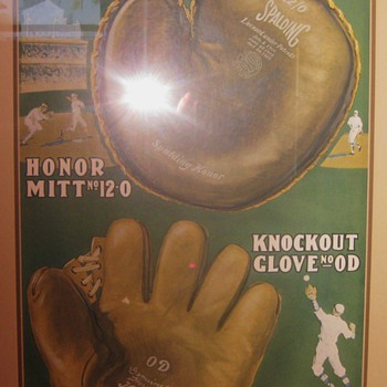 Spalding baseball glove advertising poster