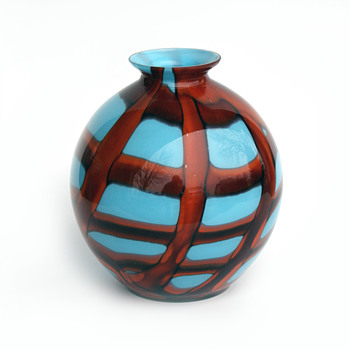 Beautiful Blue based/Red webbing Kralik Ball Vase - Art Glass