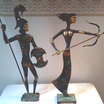 """Katritsis"" Bronze Sculptures Hand Made In Greece /Artemis and Leonidas /Circa 20th Century - Visual Art"