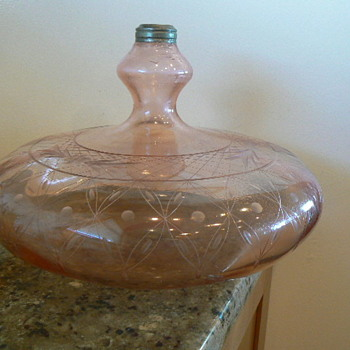 "AMAZINGLY LARGE PINK 12"" D VINTAGE BLOWN GLASS OIL LAMP FONT"