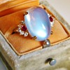 Vintage Retro Ceylon Moonstone Diamond Ruby 18k Ring Custom