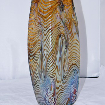 "Antique Rindksopf Corrugated Iridescent Vase 11"" - Art Glass"