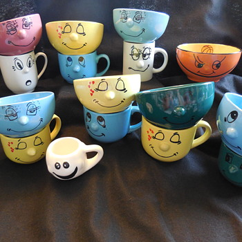My Wife's Pottery Funny Face Cups and Bowls  - Kitchen