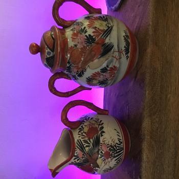 Japenese Orange and white milk jug and sugar pot