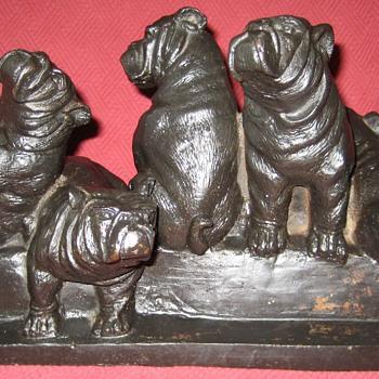 Cast Iron English Bulldog Puppies Doorstop