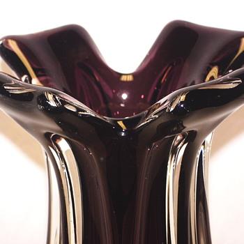 "Purple &Clear Bohemian Vase #1414""XX Century"