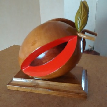 Treen handcrafted by myself apple split for a letter rack or paperweight,