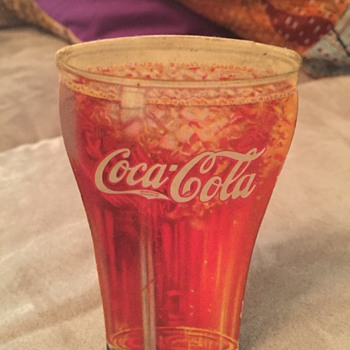 6 inch cardboard Coca Cola cut out glass