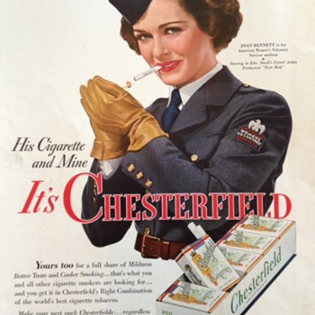 1942 Chesterfield Cigarette Ad Featuring Joan Bennett - Advertising