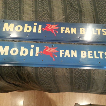 Old Barn Find 1950's Mobil fan belt signs - Signs