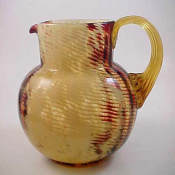 Bohemian Harrach Cased Ruby - Opal Art Glass Pitcher