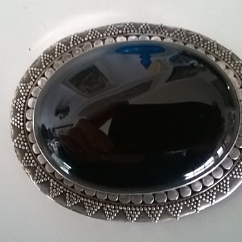 Sterling Silver & Onyx Brooch, Flea Market Find Today - $1.00