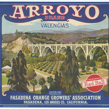 Arroyo Brand Orange crate label Pasadena bridge c 1920