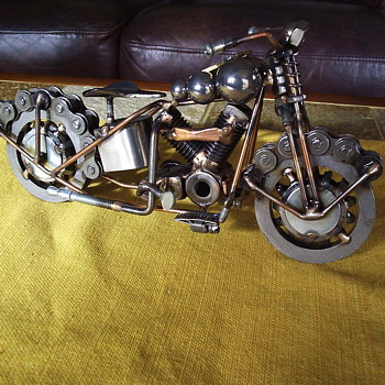 Harley Davidson Knuckle Metal Sculpture by Travis Burford - Motorcycles