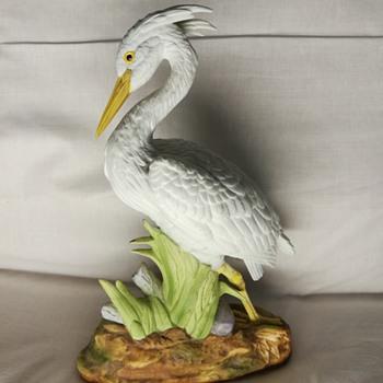 White Heron porcelain figurine - Figurines