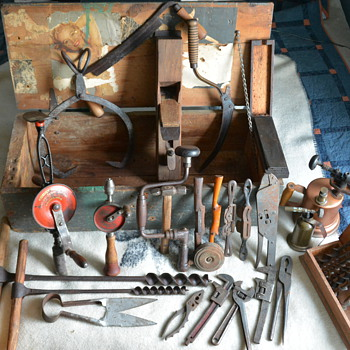Vintage hand tools in WWII era chest - Tools and Hardware