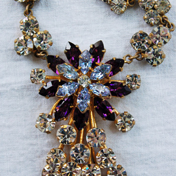 Nifty Violet, Pale Blue and Clear Rhinestone Necklace - Costume Jewelry