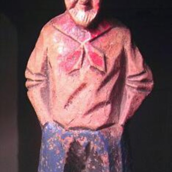 Syroco wood and cold painted statue of an old man