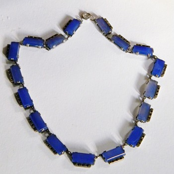 Vintage Deco Chalcedony Periwinkle Blue Marcasite Sterling Necklace Germany - Fine Jewelry