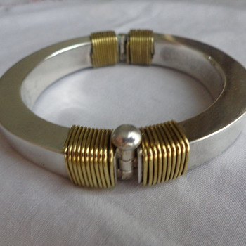 Modernist Mexican Hinged Silver Bangle with Brass Accents - Fine Jewelry