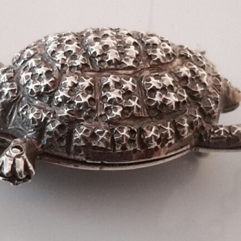 Tiny Green Eyed Silver Turtle/Tortoise Brooch and Friend - Fine Jewelry