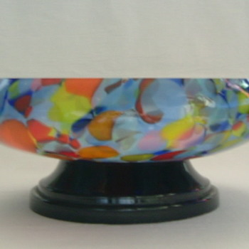 Czech Art Deco Spatter Glass Bowl on Plinth