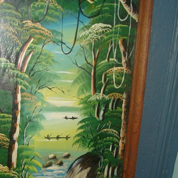 Asian boats and Jungle-Oil Painting