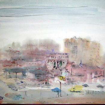 Vintage Watercolor of St Louis signed Versa 77'