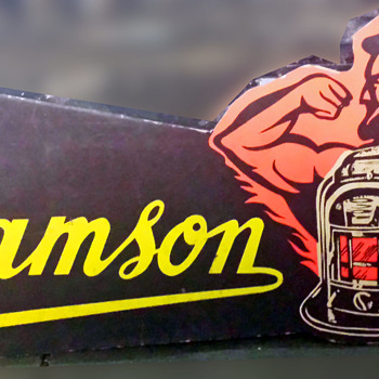 1960 Samson space heater cardboard sign with revenue stamp