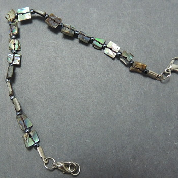 Abalone Bracelet - Sterling Clasp - Costume Jewelry