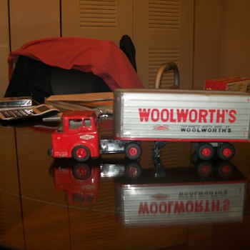 an old woolworth toy semi and trailer