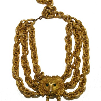 Vintage Pauline Rader Tiger Door Knocker Chain Festoon Necklace - Costume Jewelry