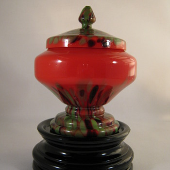 RUCKL Red Tango Glass Covered Candy Dish Green and Amethyst Spatter Decor 1930's - Art Glass