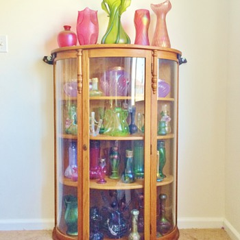 Victorian Cabinet Filled W/Bohemian Vases! Finally! - Art Nouveau