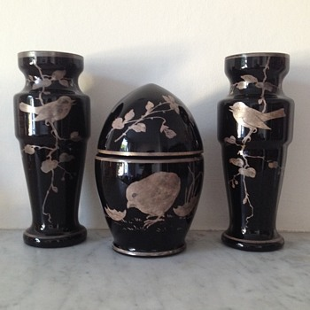 Suite of black (amethyst) vases with silver enamel